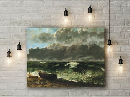 Gustave Courbet: The stormy Ocean. Fine Art Canvas.